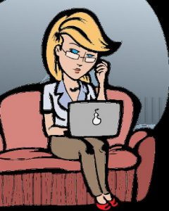woman studies on her laptop at home