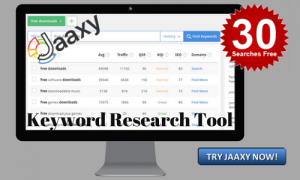 Jaaxy keyword tool banner on monitor