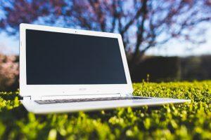 laptop on lawn