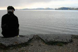 elder man sitting alone