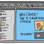 hand drawn monitor saying welcome to e couirse learning