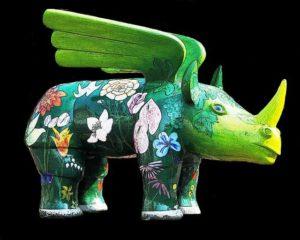 craft work painted rhino