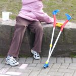 personal safety tips for seniors woman with crutches