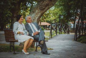 senior couple dressed up