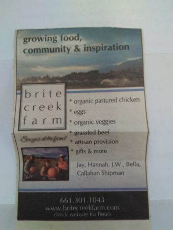 Brite Farm newspaper ad